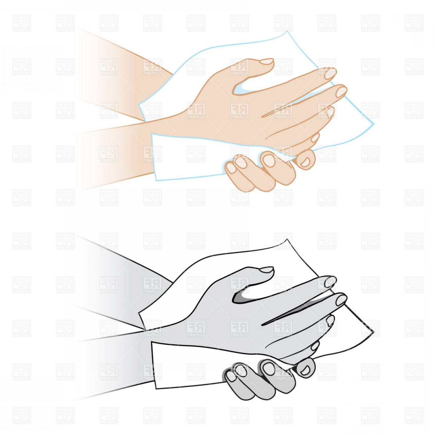 Hand Vector Clip Art: Wiping Hands Napkin Vector Clipart