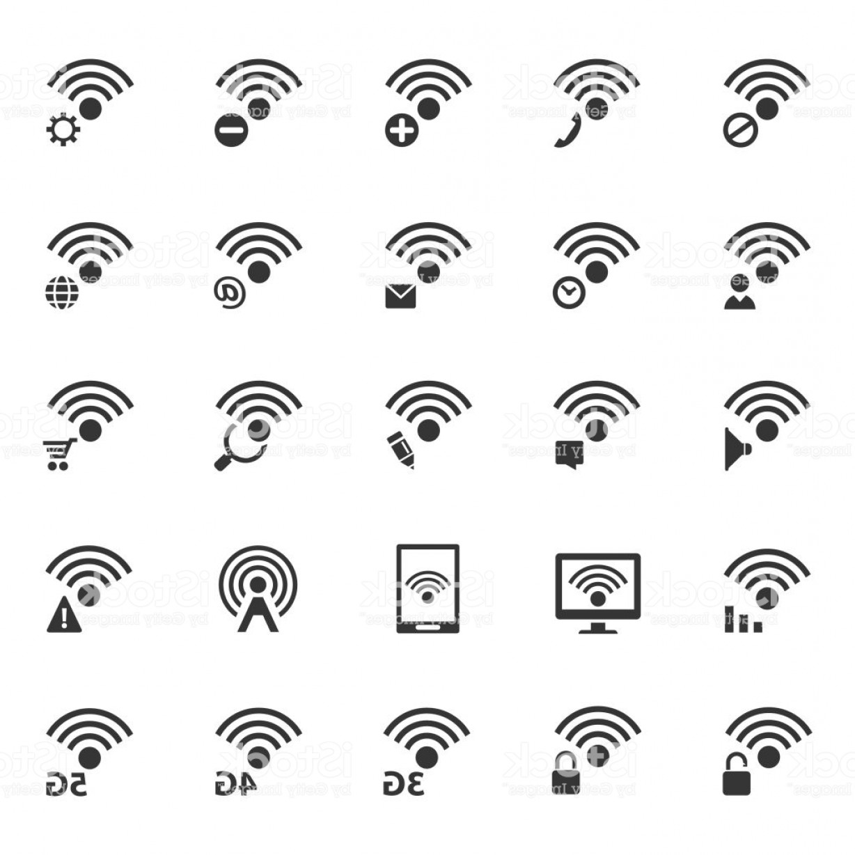 Vector Boho Arrow Strength: Wireless And Wifi Icon Set Gm