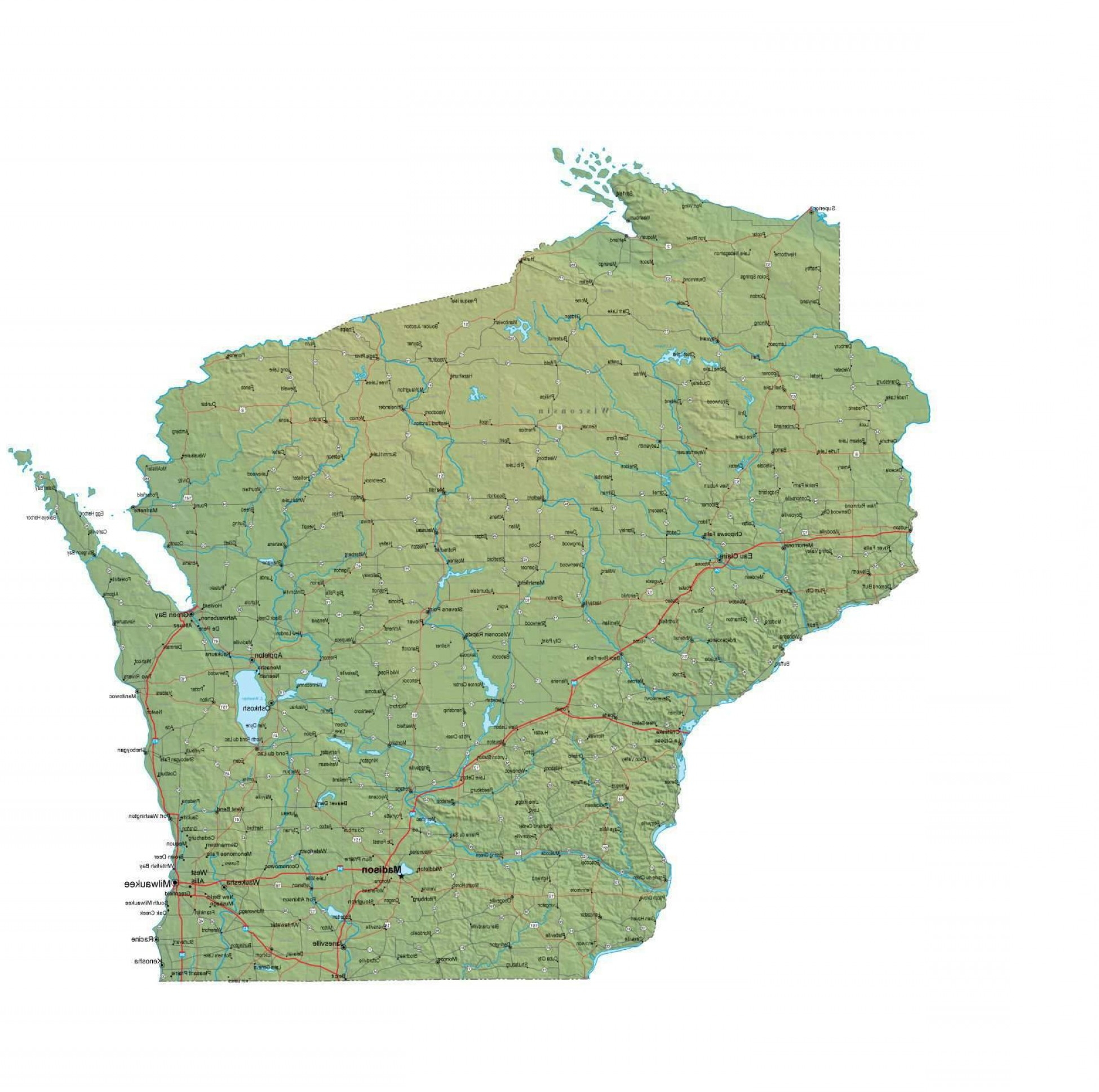 WI County Map Vector: Wisconsin Digital Vector Raster Terrain Map Wi Usa