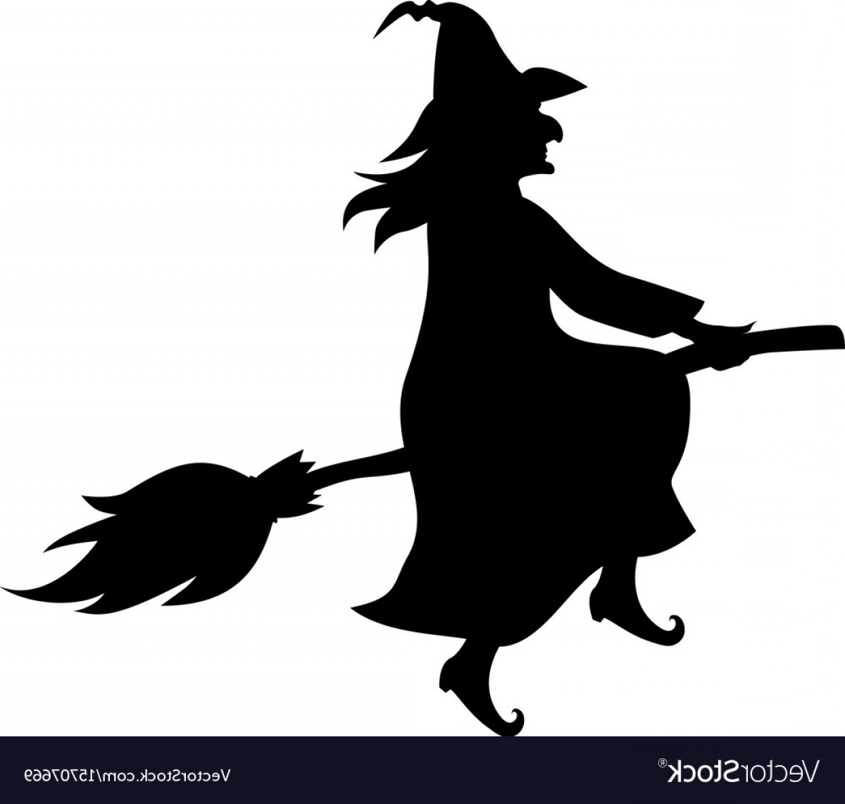 Witch Silhouette Vector: Witch On Broom Fly Silhouette Vector