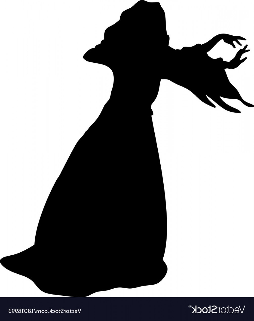 Wizard Silhouette Vector: Witchcraft Witch Magical Silhouette Fantasy Vector