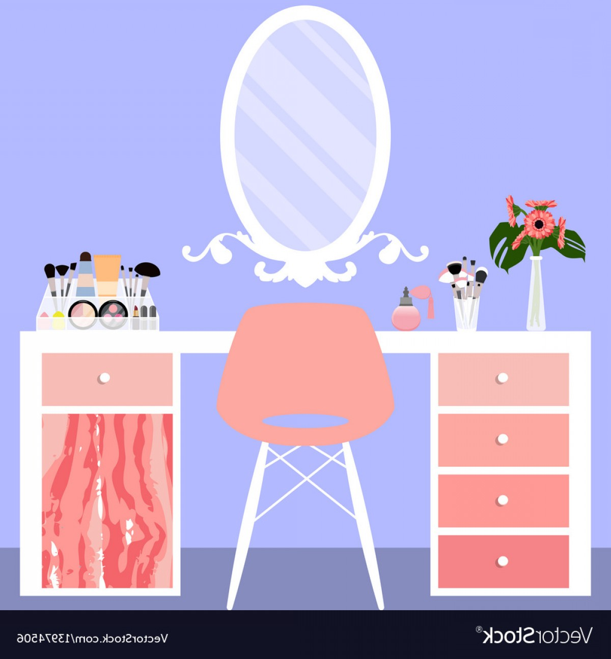 Vector Makeup Vanity Table: With Make Up Table Chair Vector