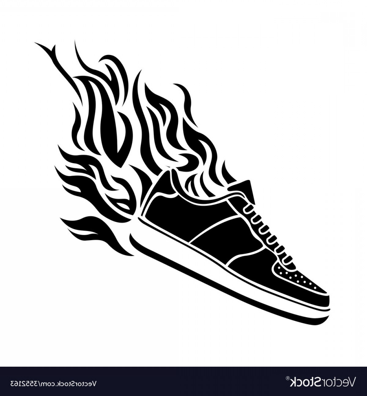 Sneaker Silhouette Vector: With Silhouette Of Running Shoe Icon Background Vector