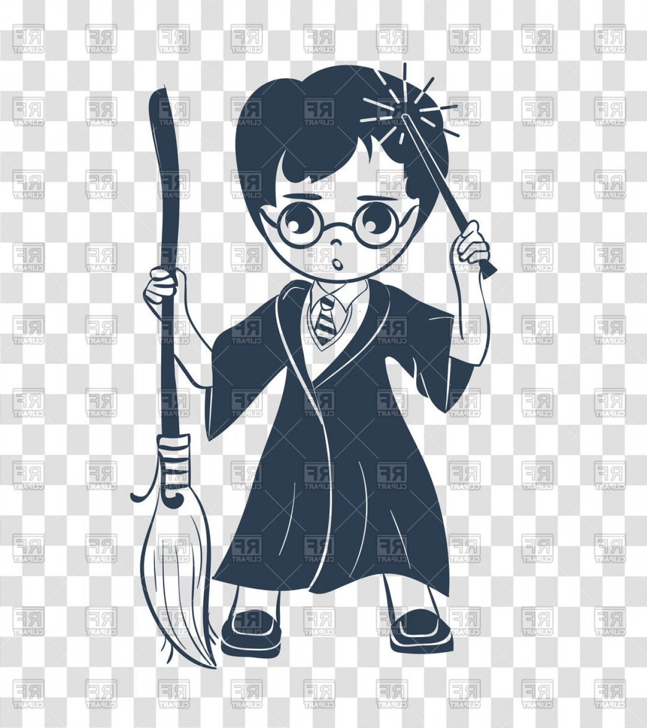 Wizard Silhouette Vector: Wizard Boy With Magic Wand And Broom Vector Clipart