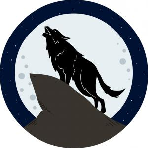 Coyote Howling Vector: Wolf Howling To The Moon At Night Vector