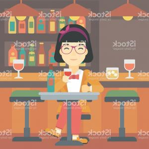 Wine Woman Cartoon Vector: Woman Drinking Wine At Restaurant Gm