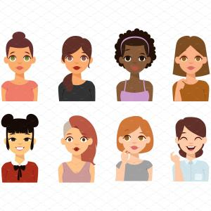 Popular Vector Emoji: Woman Emoji Face Vector Icons