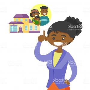 Purchase Vector Art: Woman Planning Her Purchase Of A Family House Gm