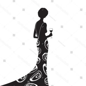 Elegant Woman Silhouette Vector: Fashion Luxury Glamour Elegant Woman Silhouette