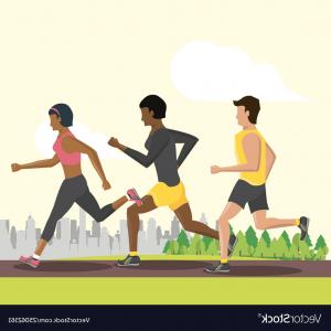 Vector Silhouette Of Girl Running Track: Women Running In The Track Vectors