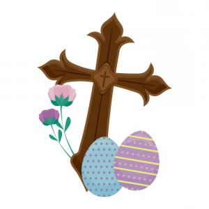 Religious Easter Vector Files: Wooden Catholic Cross With Eggs Of Easter Vector
