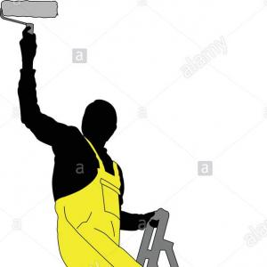 Painter On Ladder Vector: Workman Painting The Wall With A Roller Vector