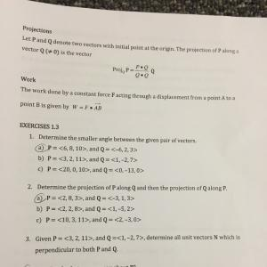 Constant Vector Projection: Worksheet Vector Calculus