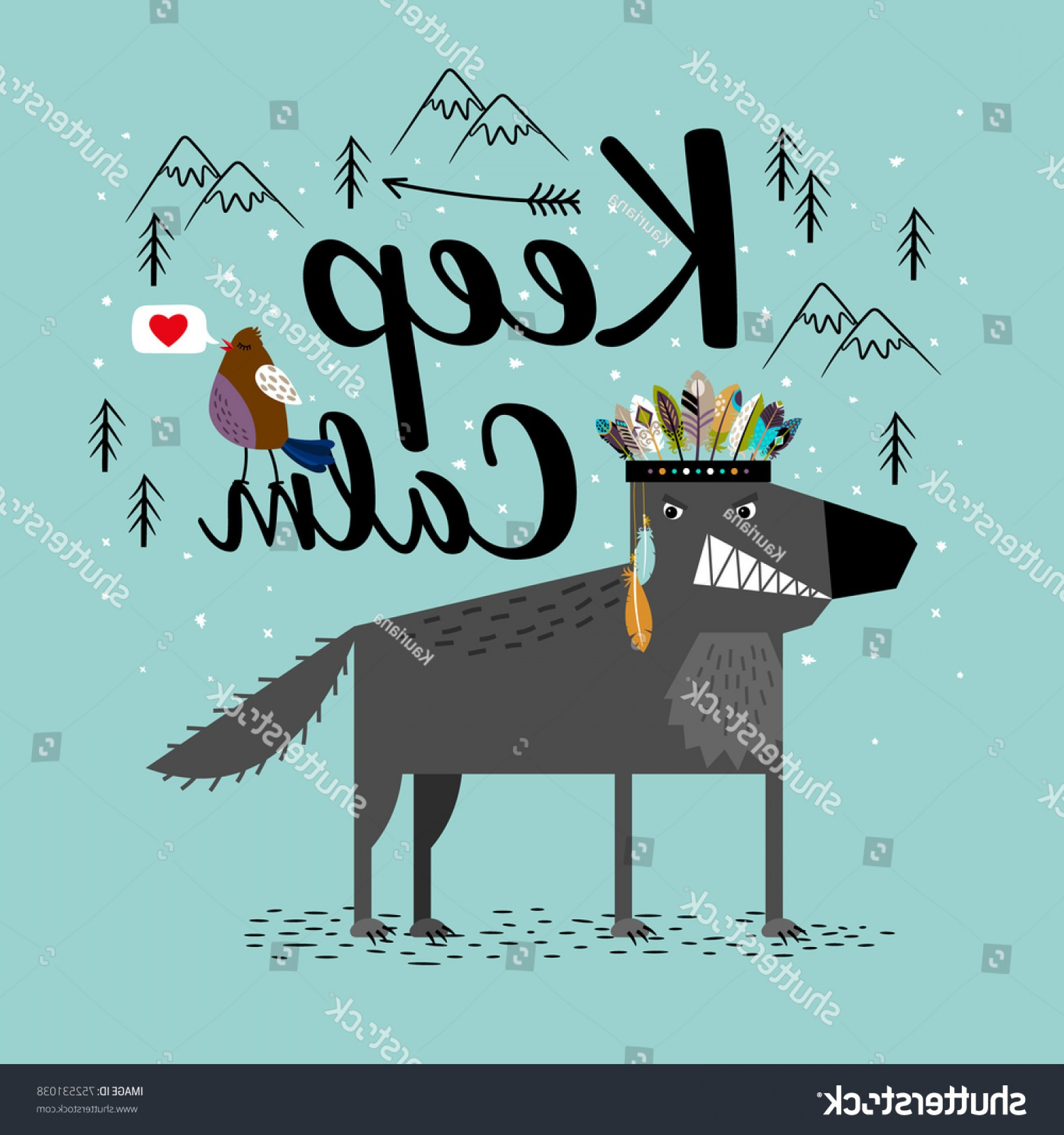 Calm Wolf Vector: Wolf Bird Lettering Keep Calm