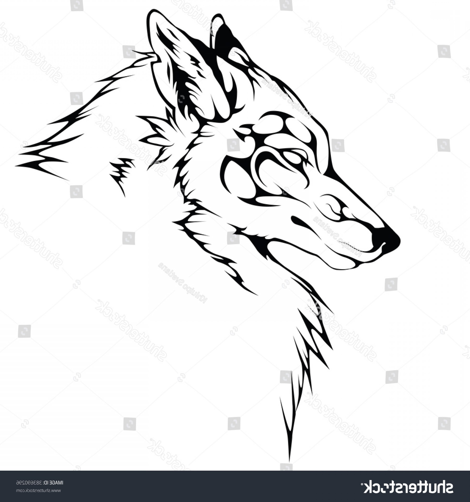 Calm Wolf Vector: Wolf Black Color Ornate Patterns Depicted