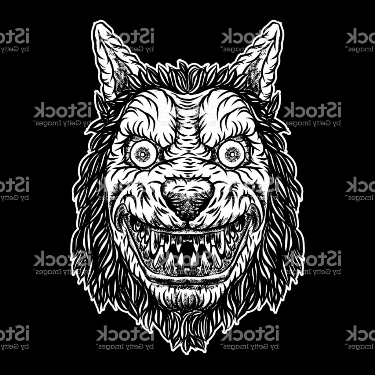 Full Moon Werewolf Vector 900: Wolf Blackwork Tattoo Flash Concept Isolated On White Angry Wolf Head Detailed Gm