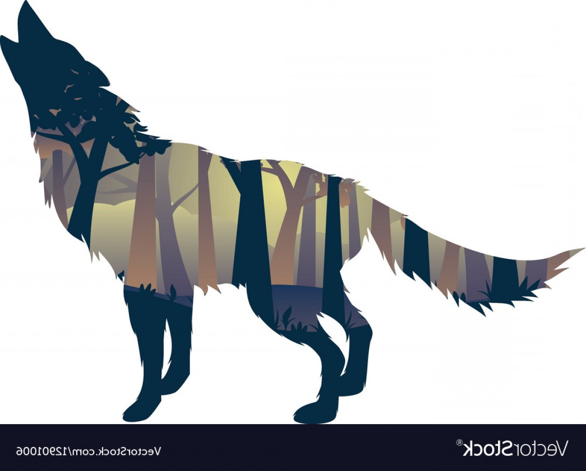 Full Moon Werewolf Vector 900: Wolf Howling With Forest Vector
