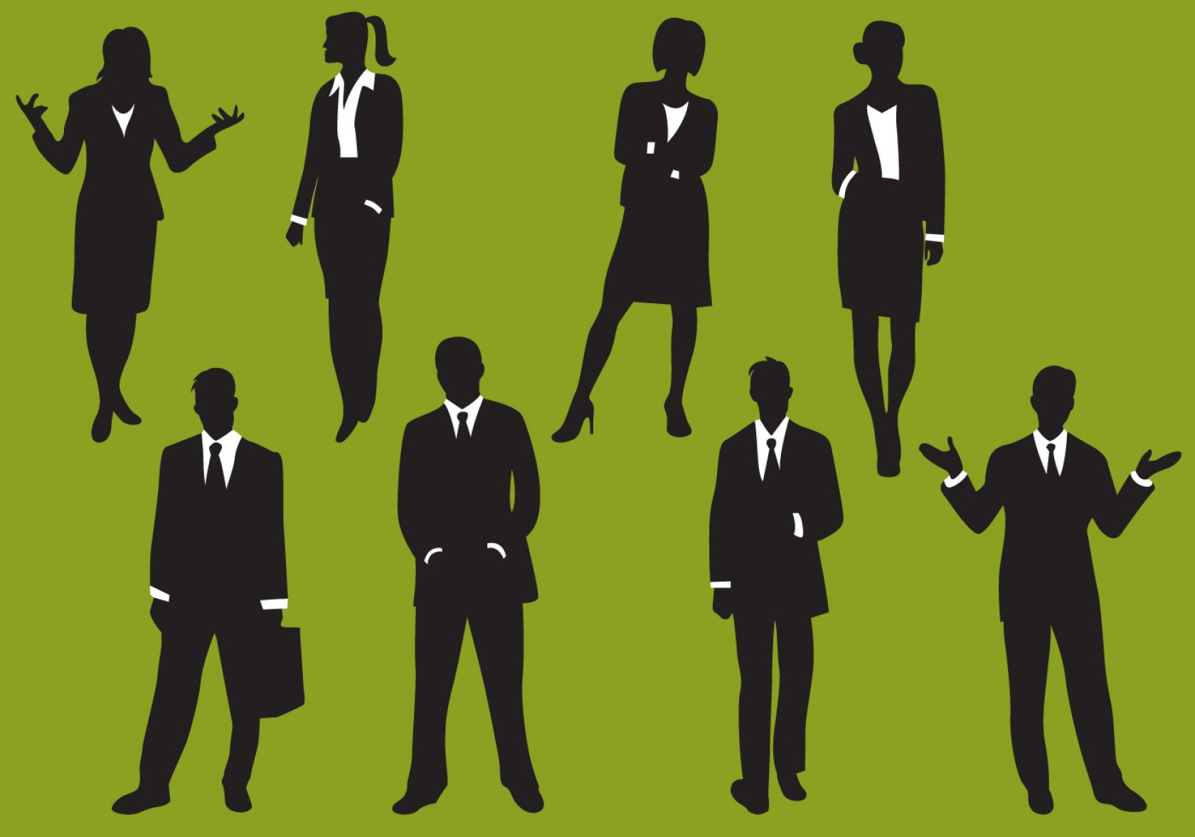 Male Silhouette Vector Art: Woman And Man Business Silhouettes