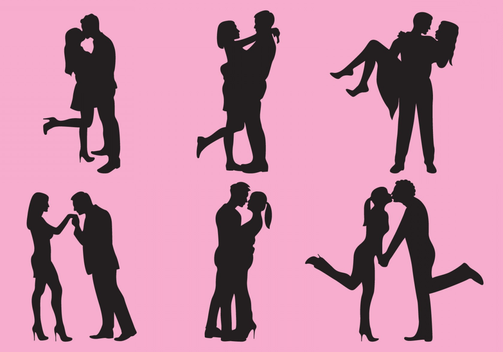 Vector Silhouette Love: Woman And Man Love Silhouettes