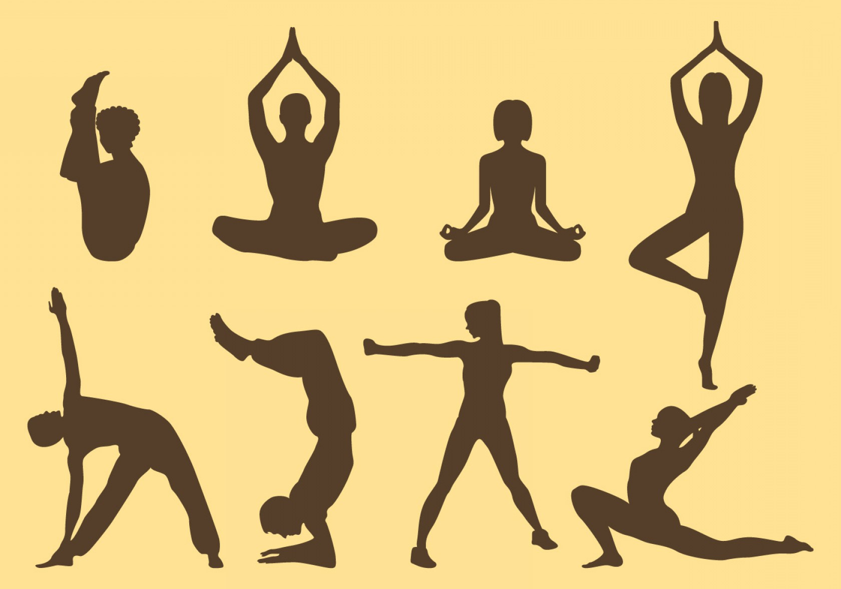 Yoga Vector Silhouette SVG: Woman And Man Yoga Silhouettes