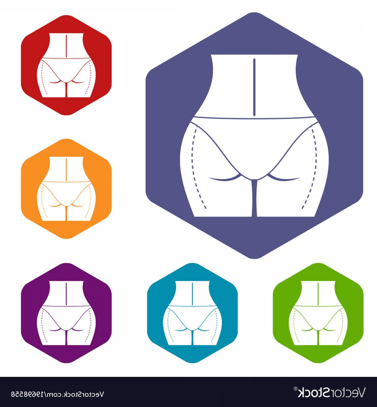 Surgery Icon Vector: Woman Buttocks Prepared To Plastic Surgery Icons Vector