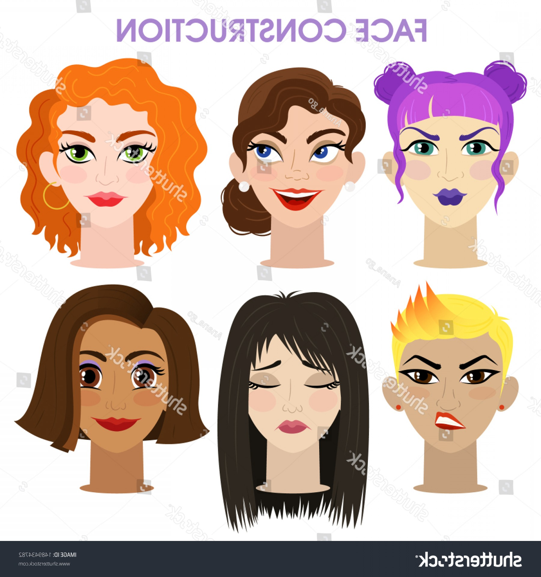 Female Parts Vector: Woman Character Constructor Cartoon Face Parts