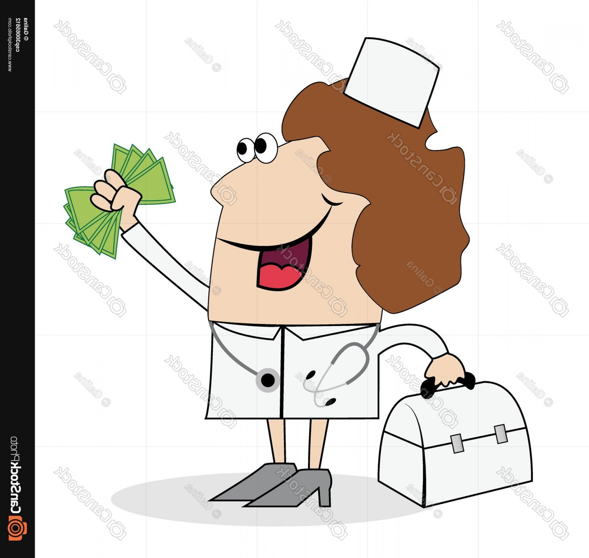 Hand Vector Clip Art: Woman Doctor With Money In Hand