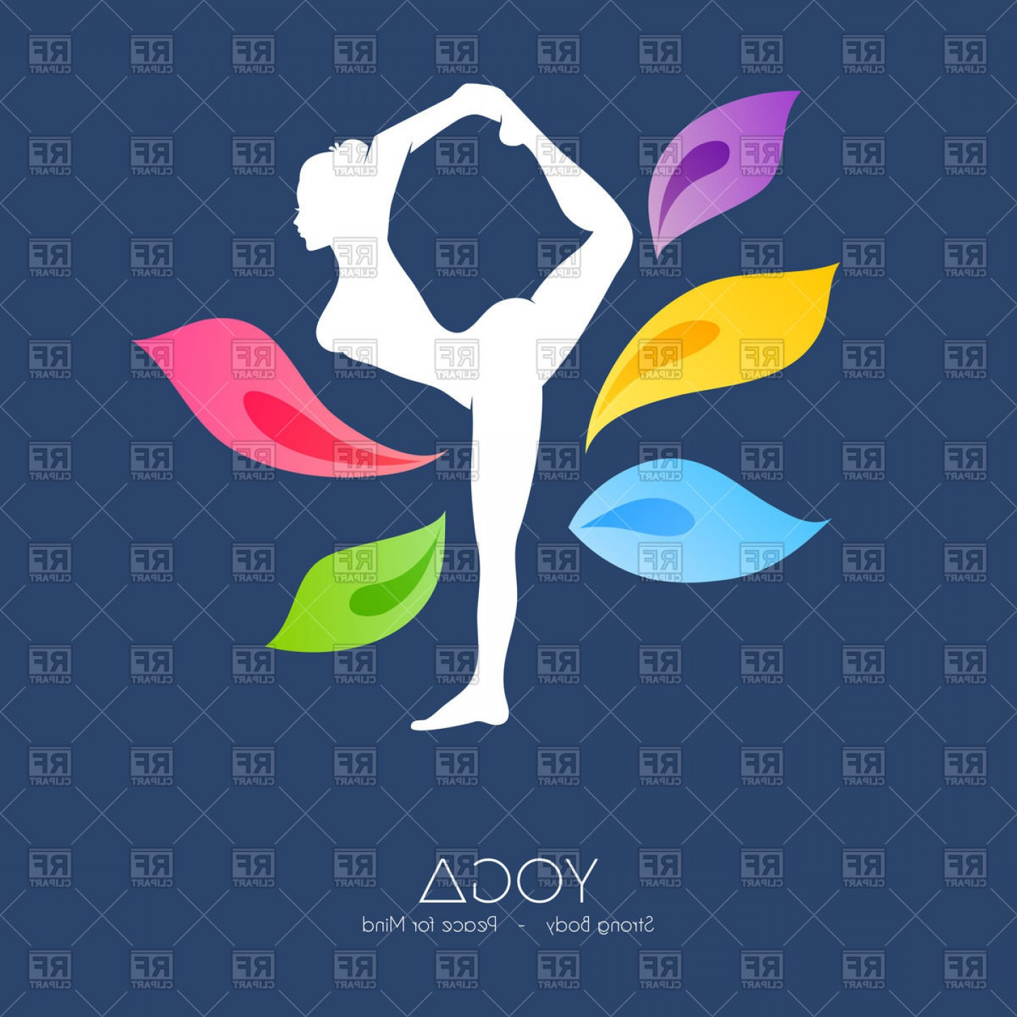 Color Guard Silhouette Vector: Woman Doing Yoga Silhouette With Petals Vector Clipart