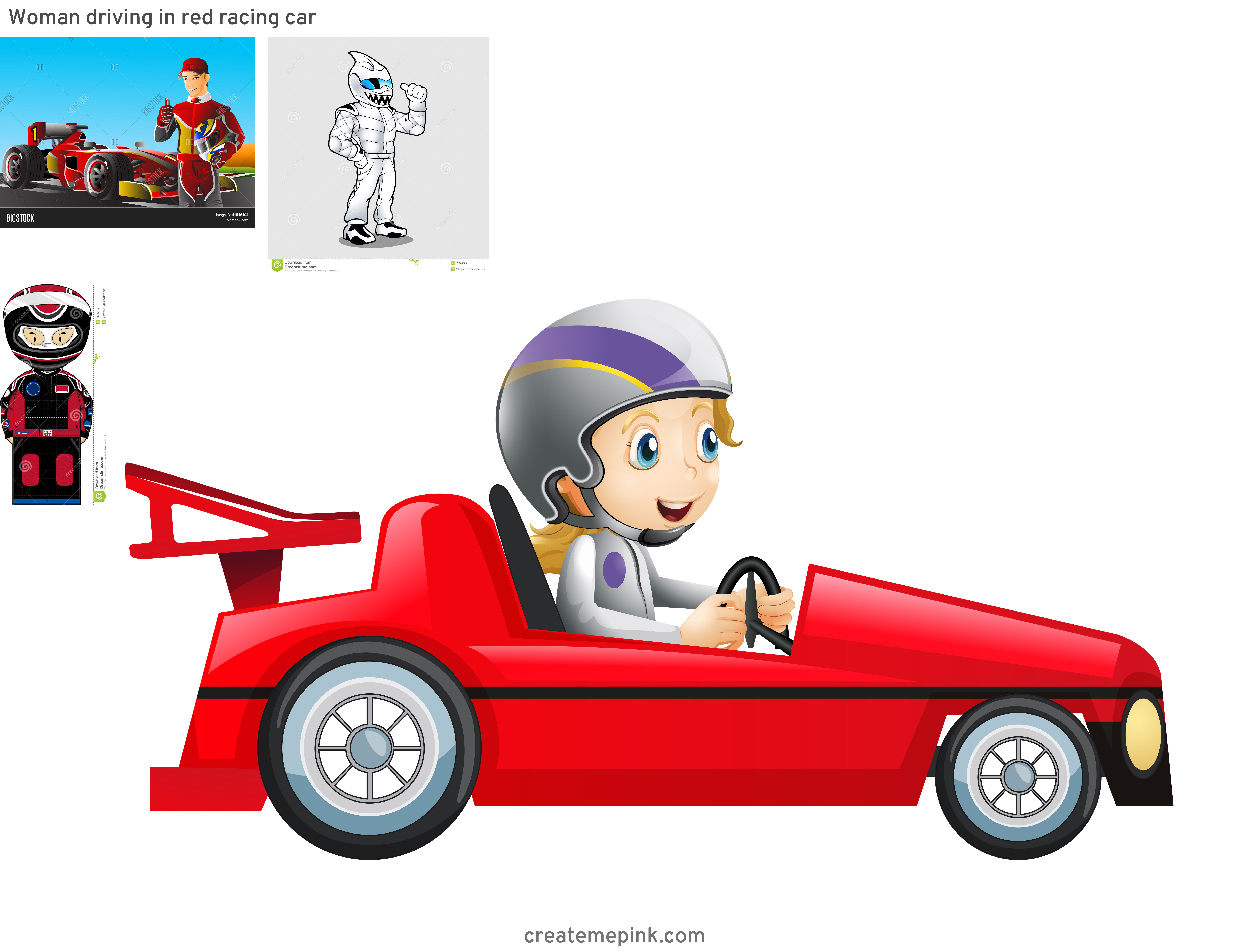 Vector Race Driver: Woman Driving In Red Racing Car