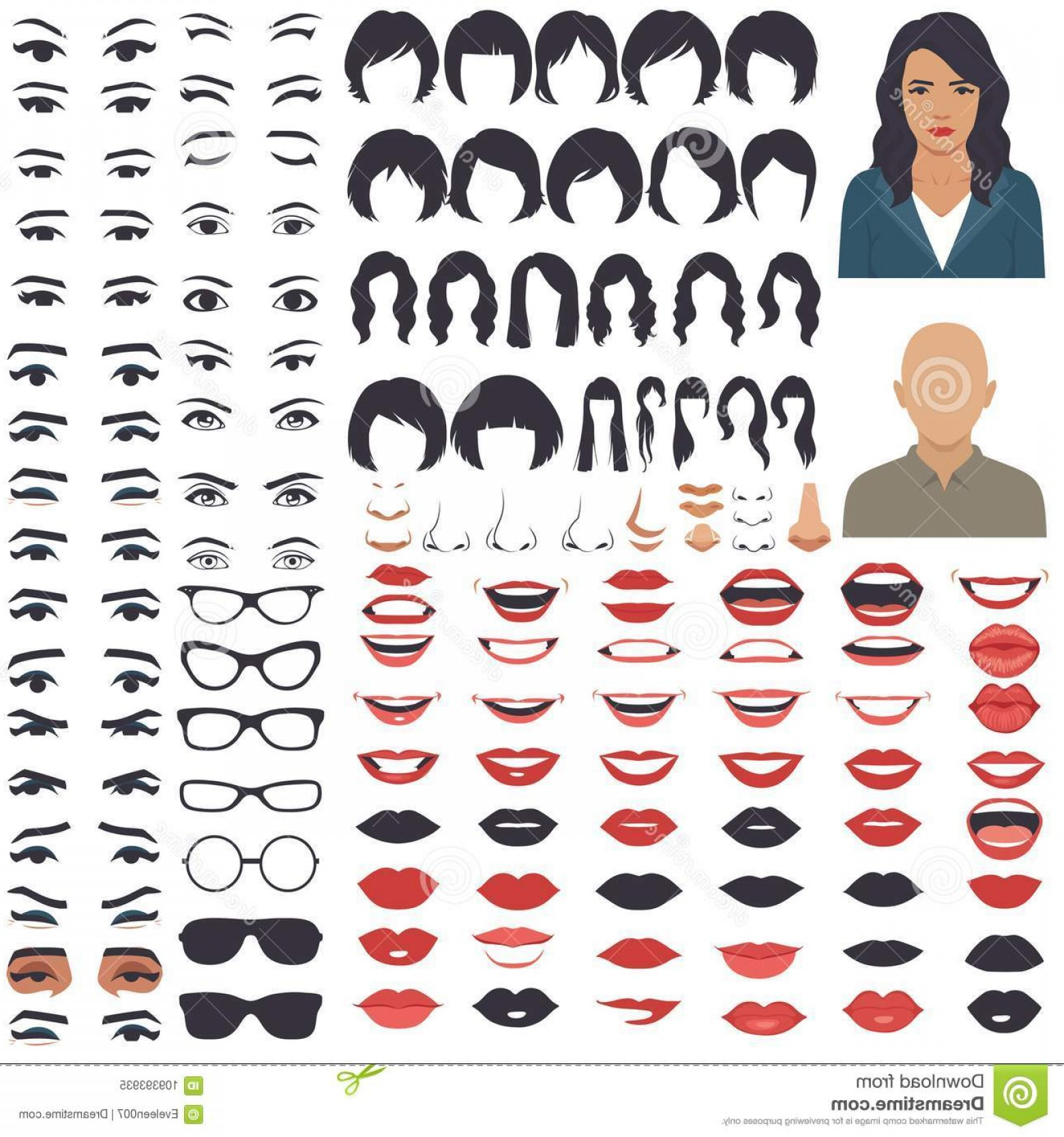 Female Parts Vector: Woman Face Parts Character Head Eyes Mouth Lips Hair Eyebrow Icon Set Vector Illustration Image