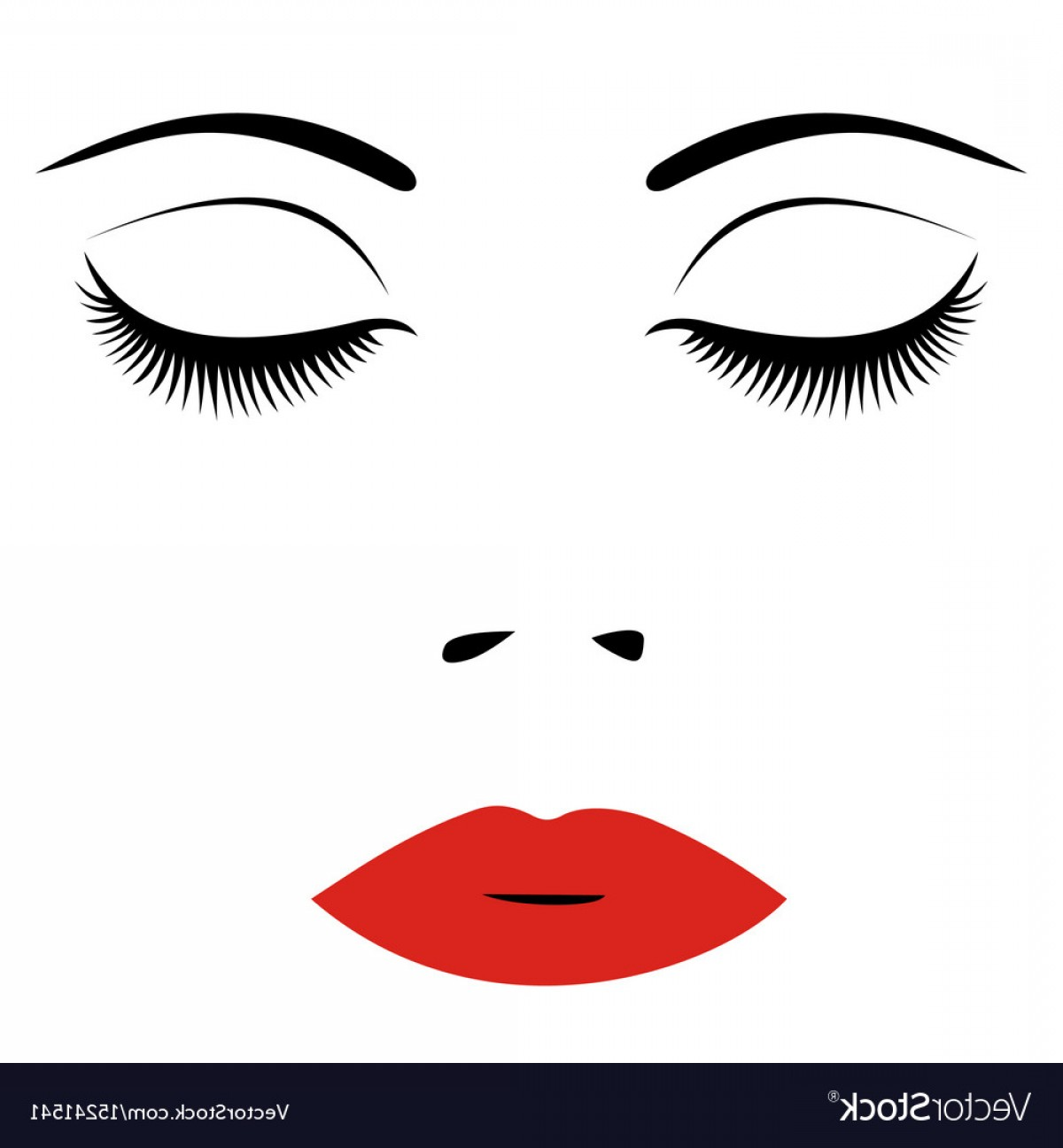 Woman Eye Vector Graphics: Woman Face With Red Lips And Closed Eyes For Vector