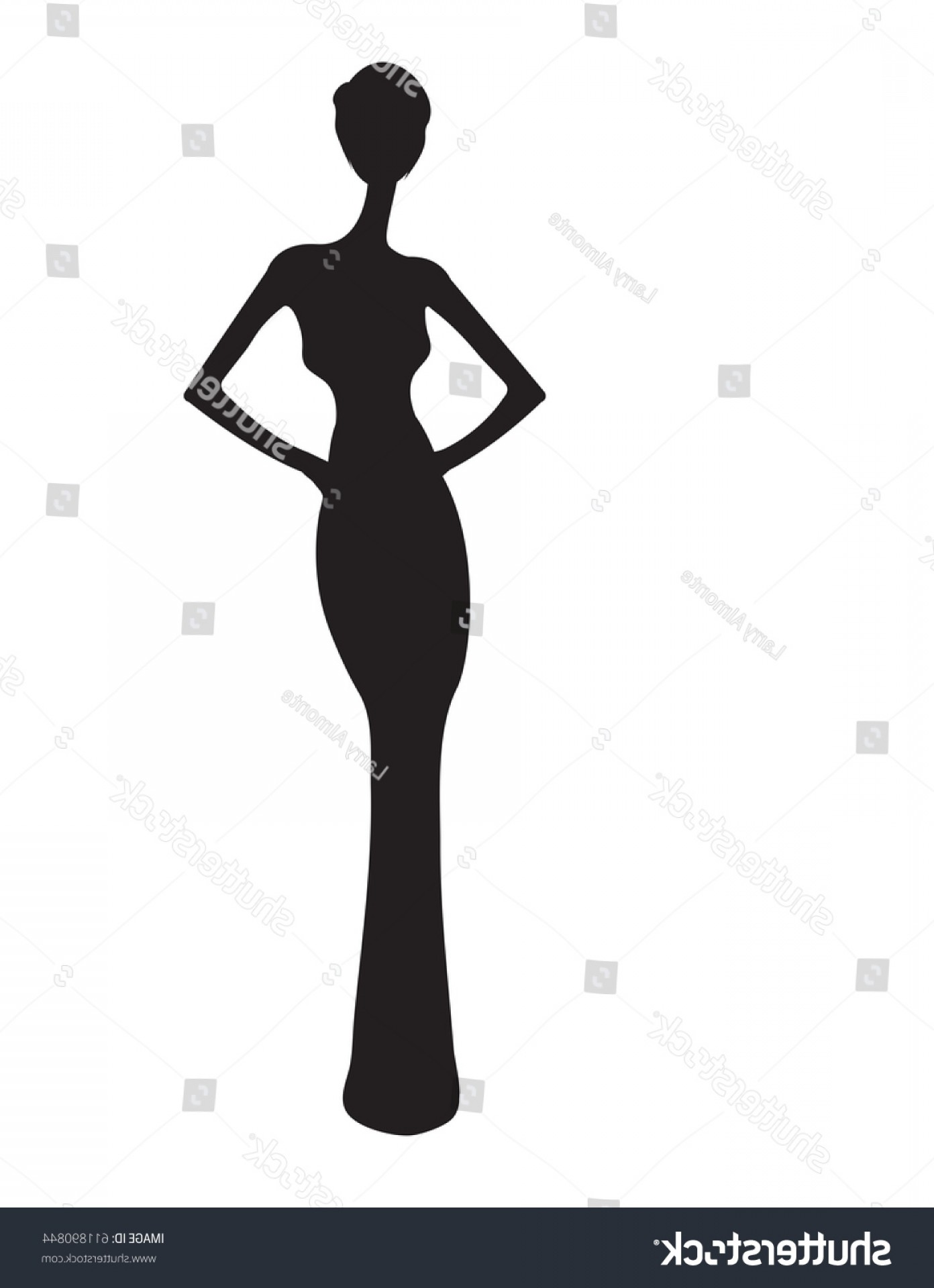 Elegant Woman Silhouette Vector: Woman Gown Silhouette Elegant Evening Eps