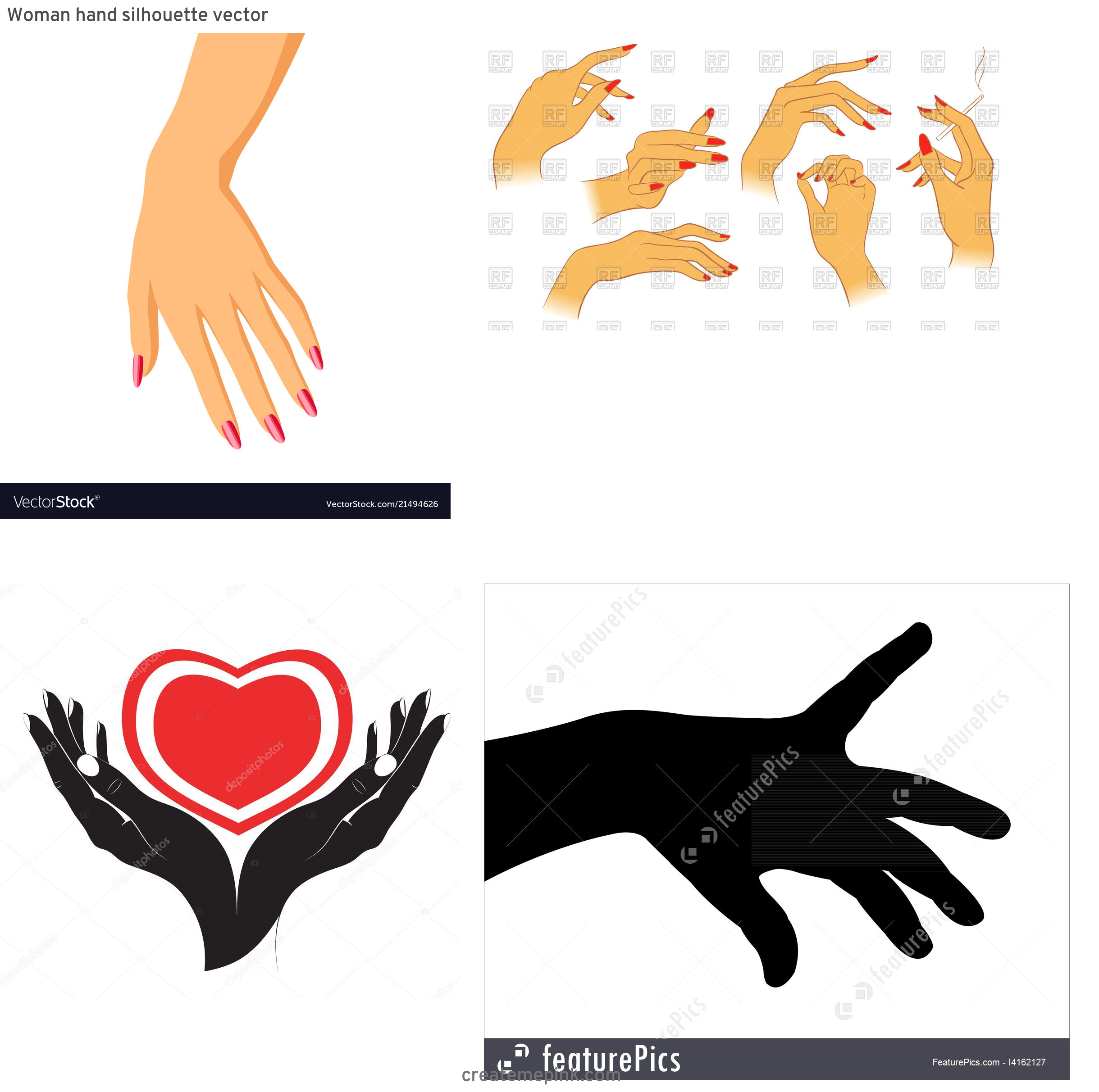 Female Hand Silhouette Vector: Woman Hand Silhouette Vector