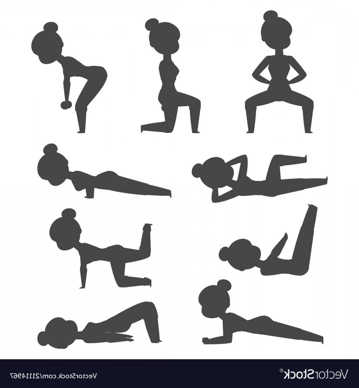 AT-AT Vector: Woman Home Workout Silhouette Exercising At Vector