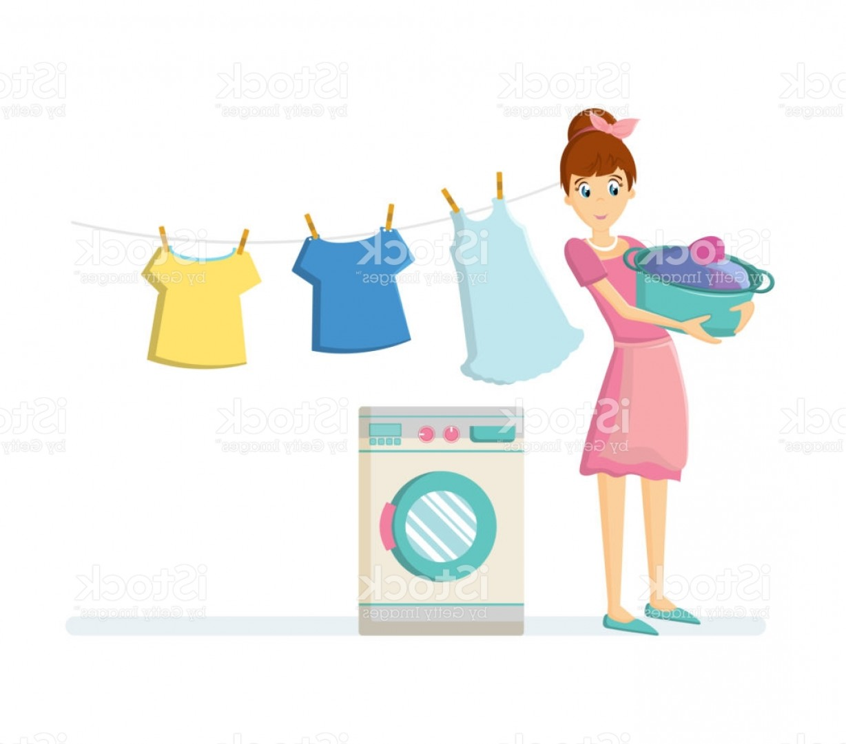 Clothes For Washing Vector: Woman Housewife Characters Woman Housewife Washing Clothes In Washing Machine Gm
