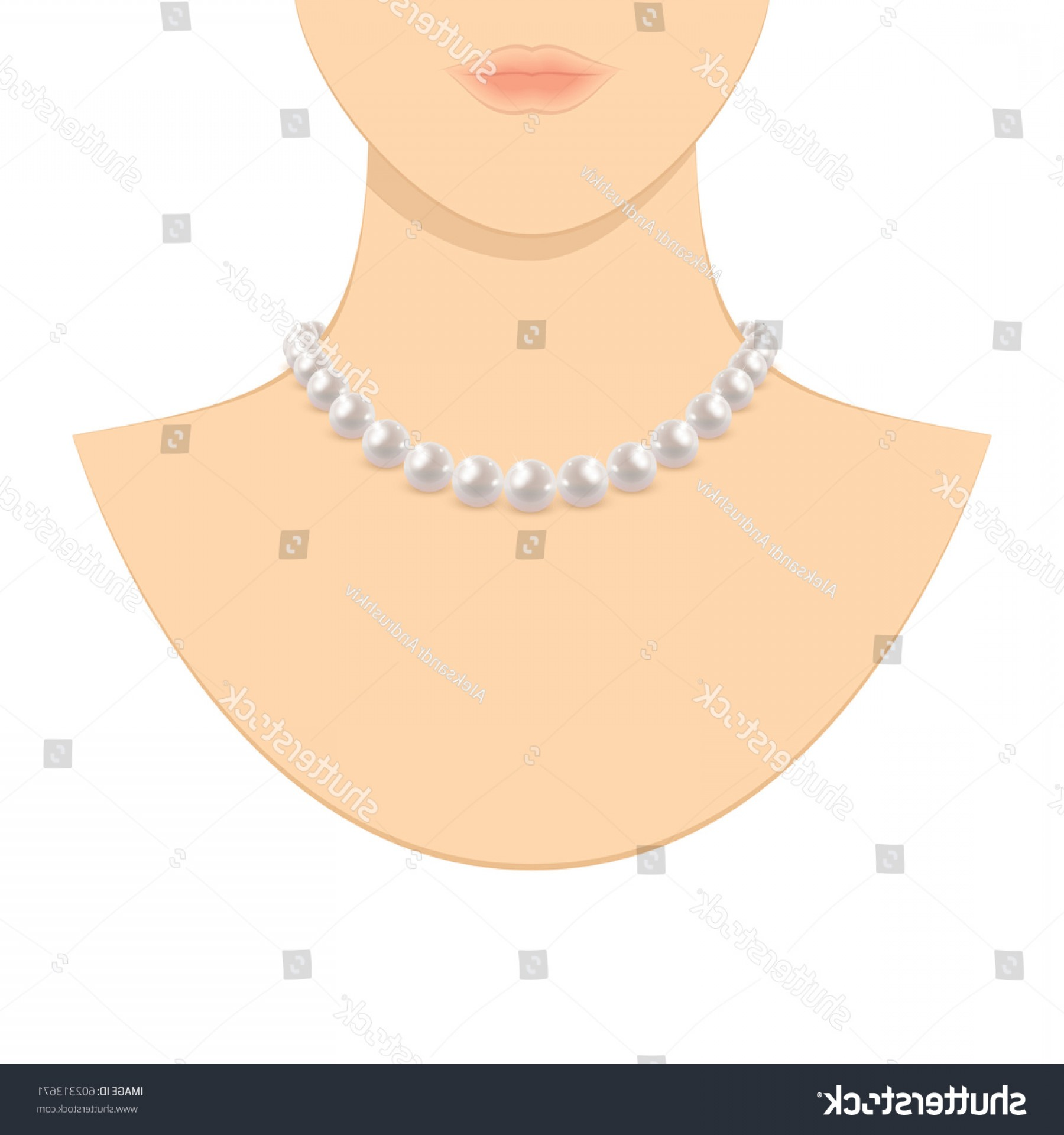 Pearl Necklace Vector Clip Art: Woman Pearl Jewelry Isolated Vector Illustration