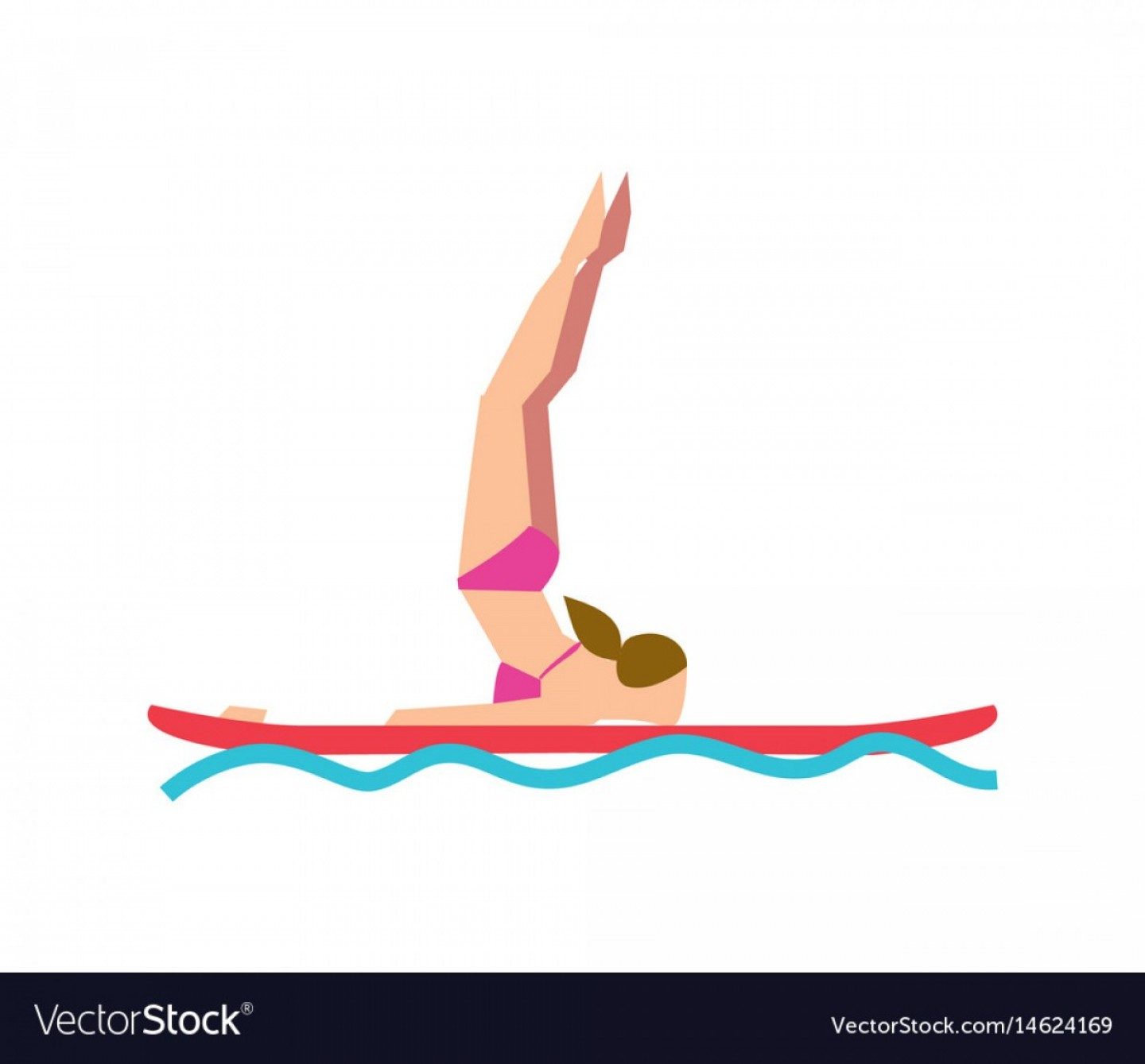 Paddleboard Vector Icons: Woman Practicing Sup Yoga On Paddle Board Vector