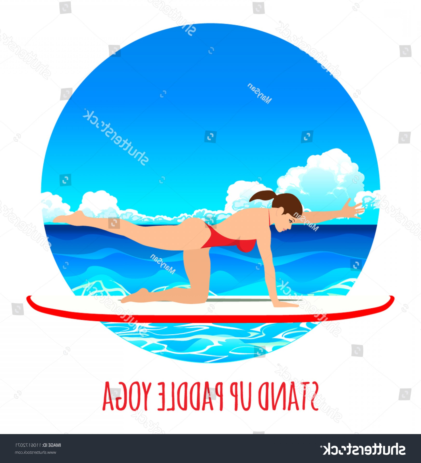 Paddleboard Vector Icons: Woman Practicing Sup Yoga On Paddle