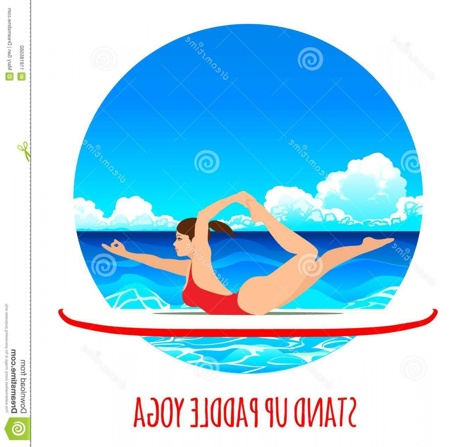Paddleboard Vector Icons: Woman Practicing Sup Yoga Paddle Board Sea Ocean Vector Illustration Background Image