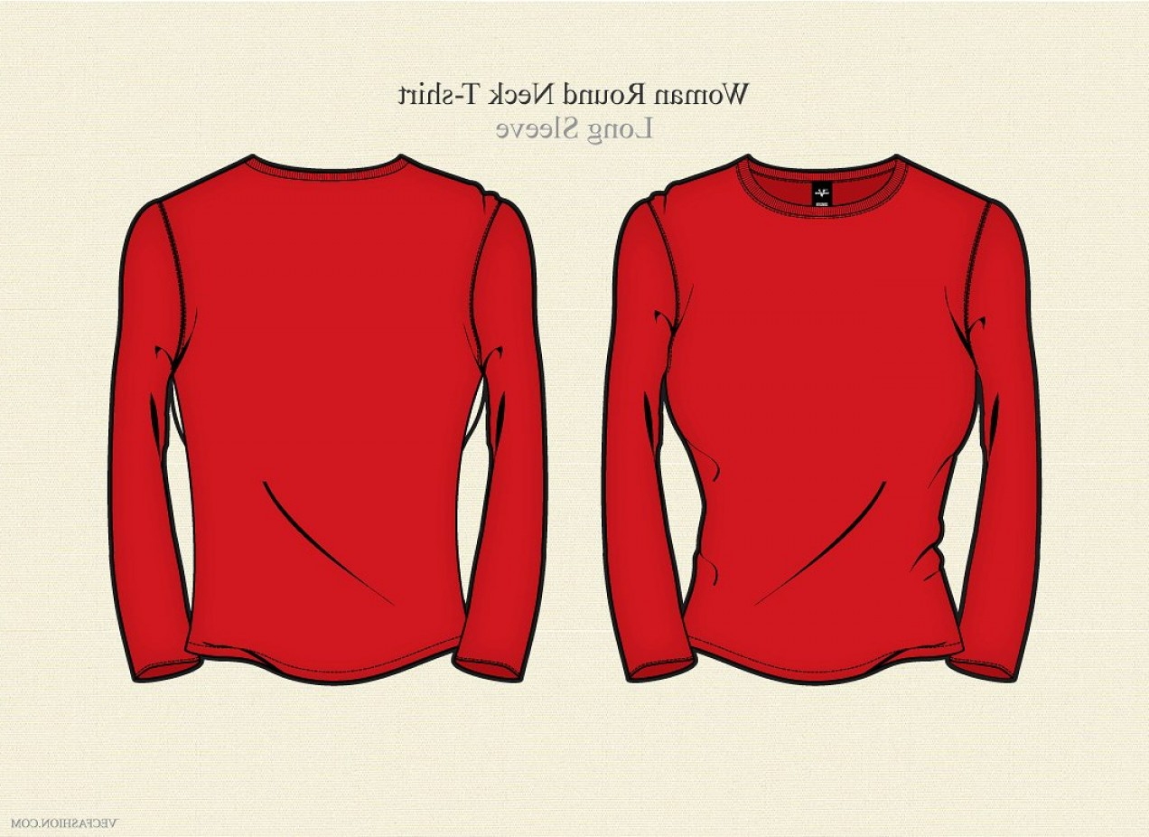 Long Sleeve Jersey Vector Template: Woman Round Neck T Shirt Long Sleeve