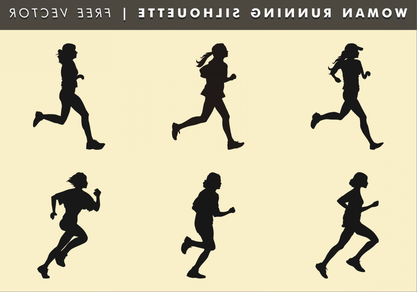 Vector Silhouette Of Girl Running Track: Woman Running Silhouette Free Vector