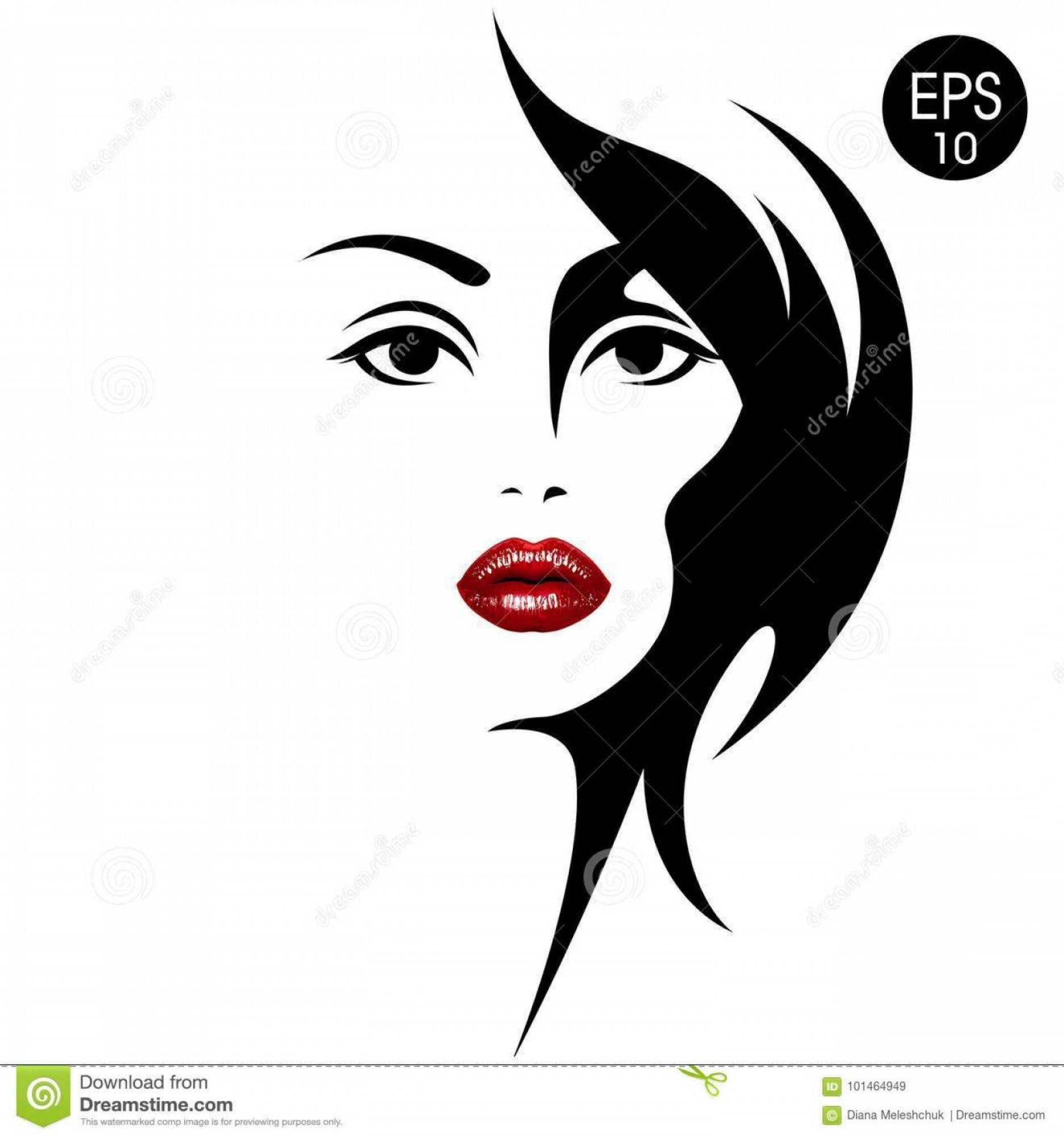 Girl Face Vector Art Black And White: Woman S Face Red Lips Vector Fashion Illustration Black White Silhouette Your Design Image