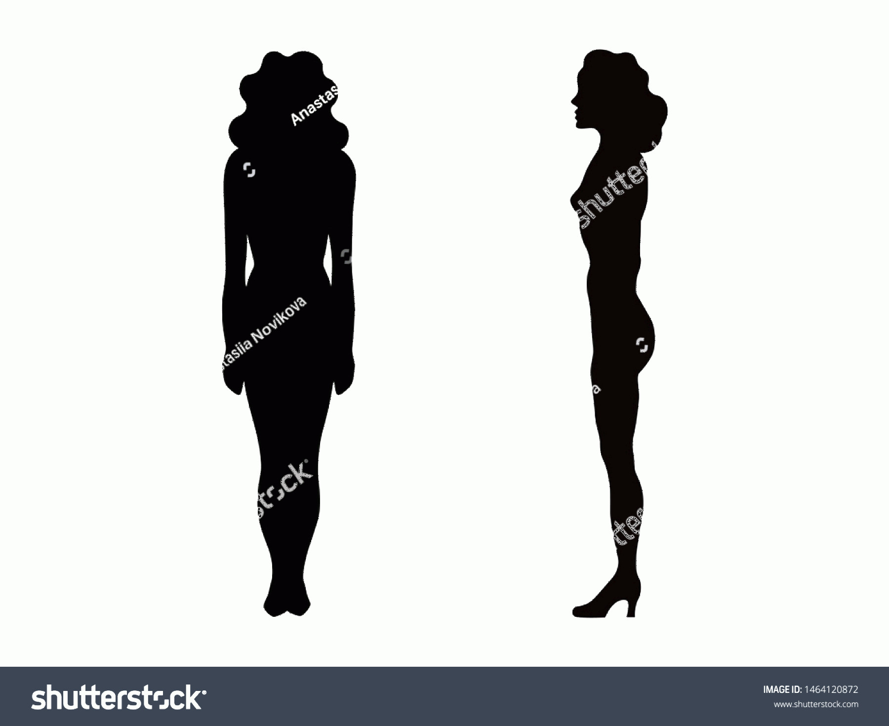 Woman Silhouette Vector Clip Art: Woman Silhouette Isolated On White Background