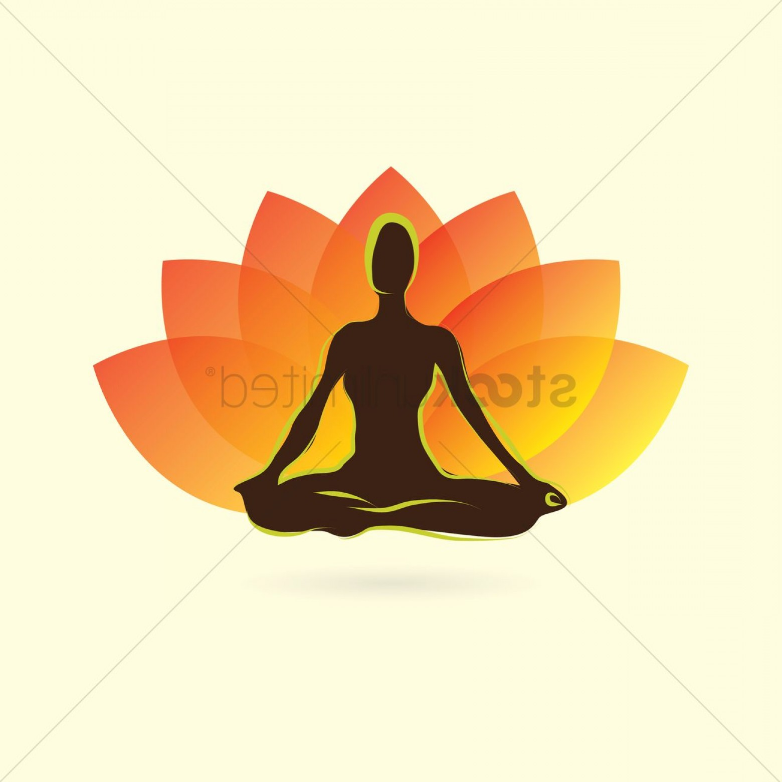 Yoga Vector Silhouette SVG: Woman Silhouette Practising Yoga In Lotus Pose