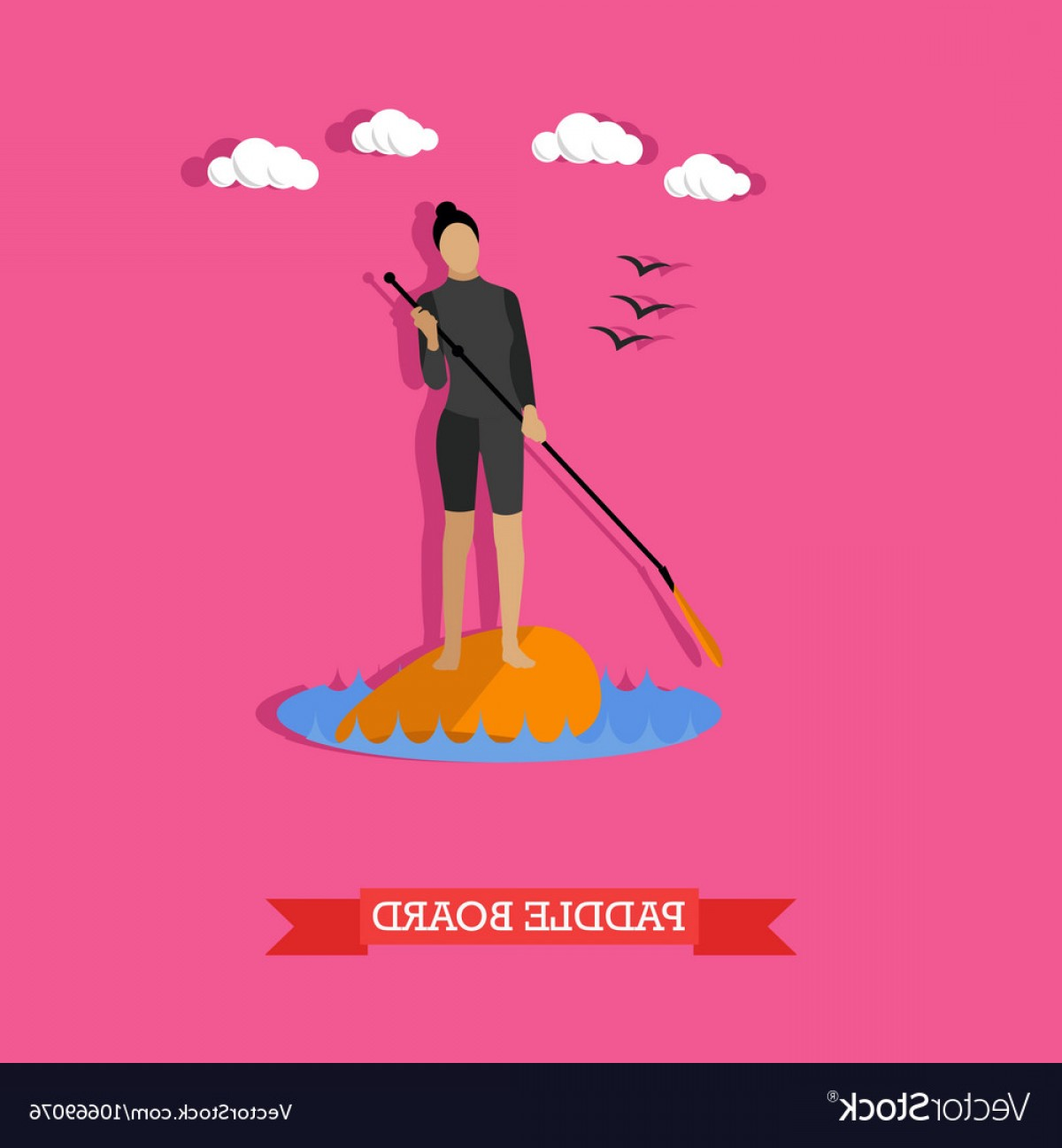 Stand Up Paddle Boarder Vector: Woman Swim On Stand Up Paddle Board Flat Design Vector