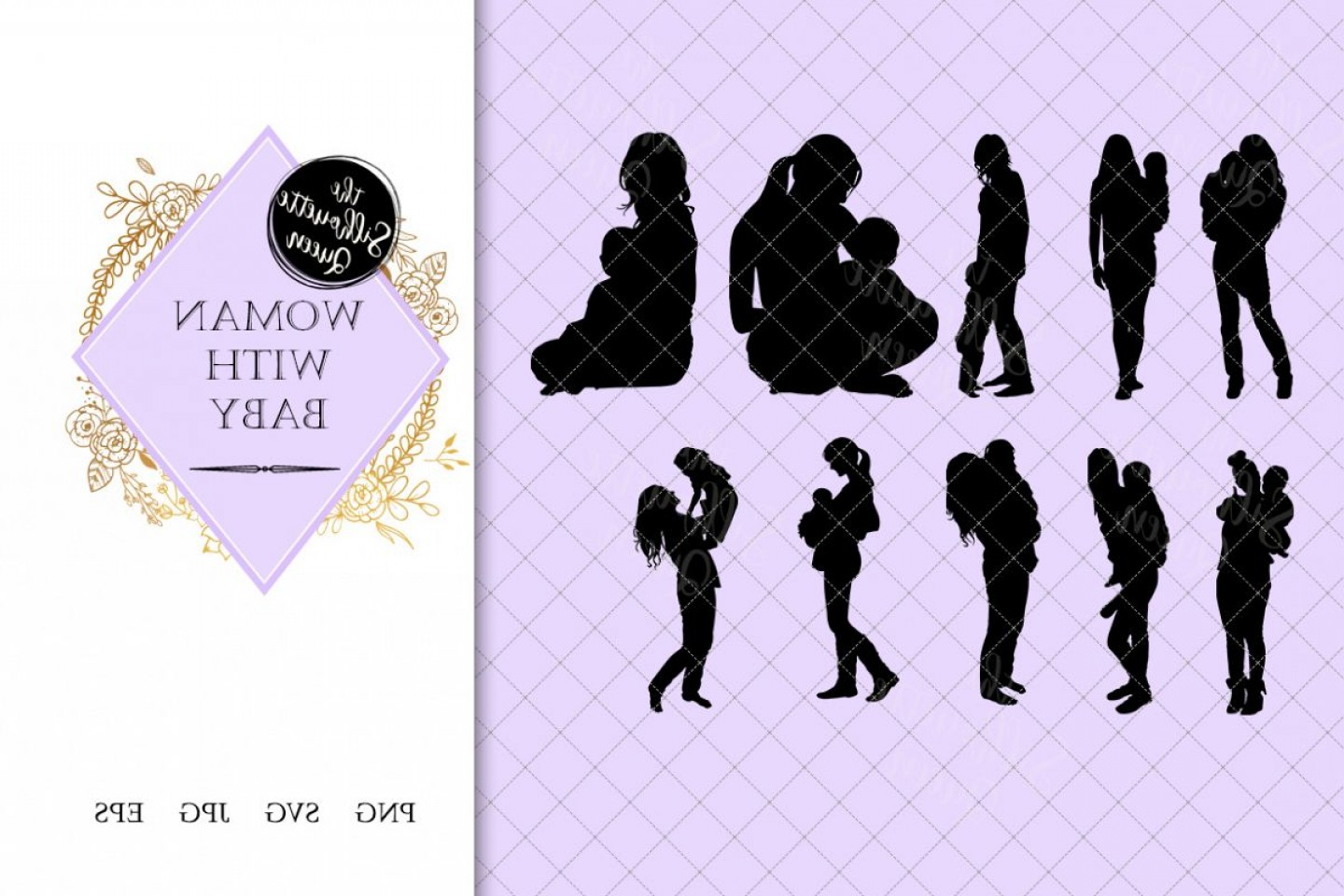 Baby Dragon Silhouette Vector: Woman With Baby Silhouette Mother With Kid Vector Mother
