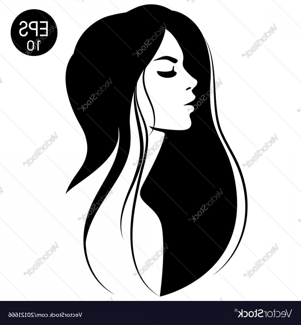 Girl Face Vector Art Black And White: Woman With Black Hair Fashion Vector