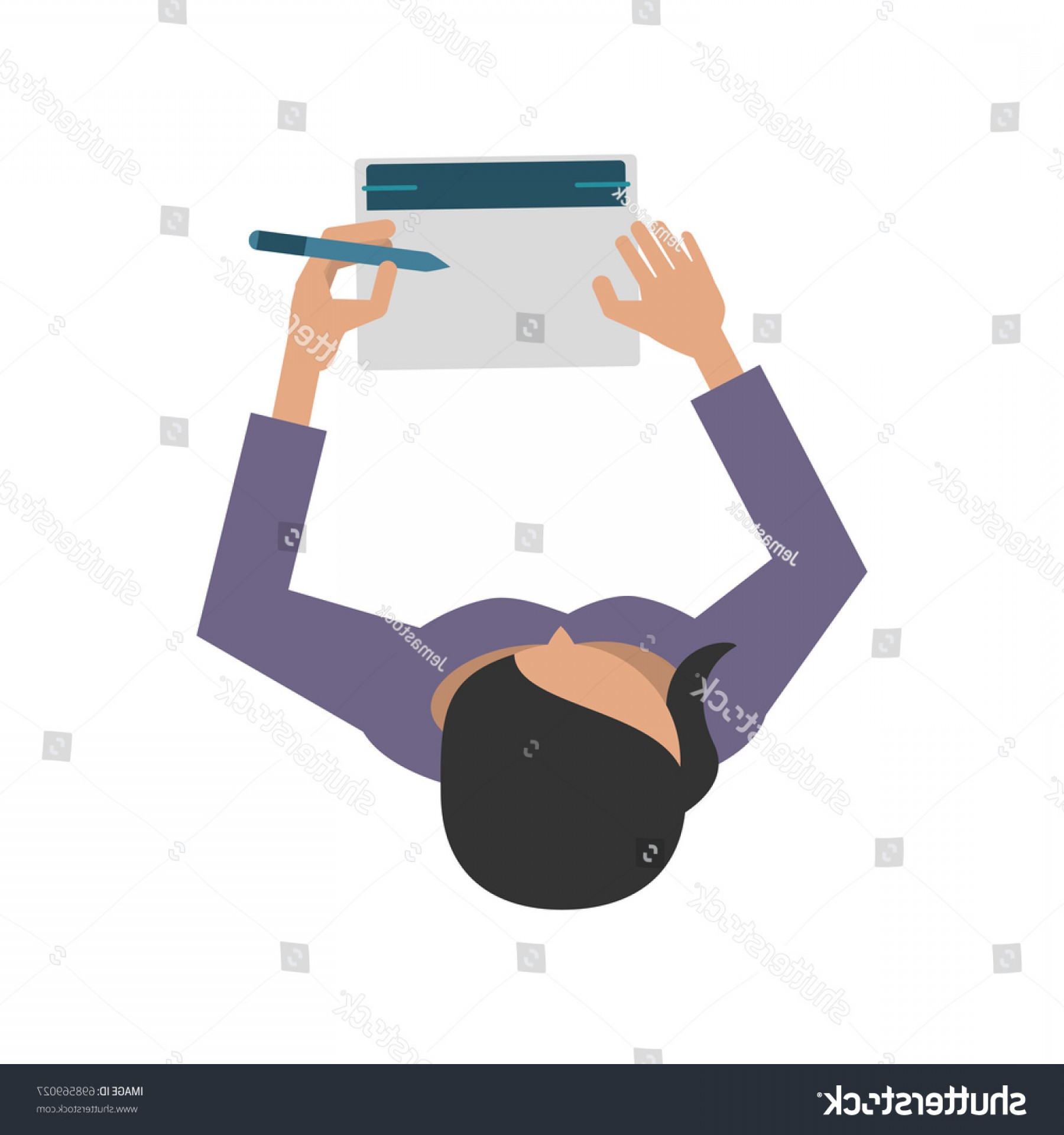 Notepad Writing Hand Vector: Woman Writing On Notepad Topview Icon