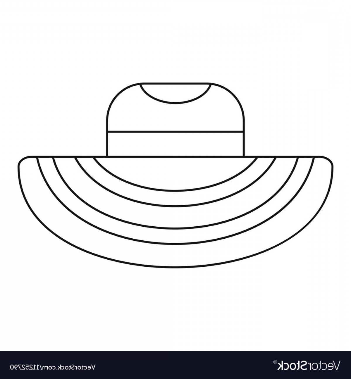 Sombrero Vector Outline: Women Beach Hat Icon Outline Style Vector