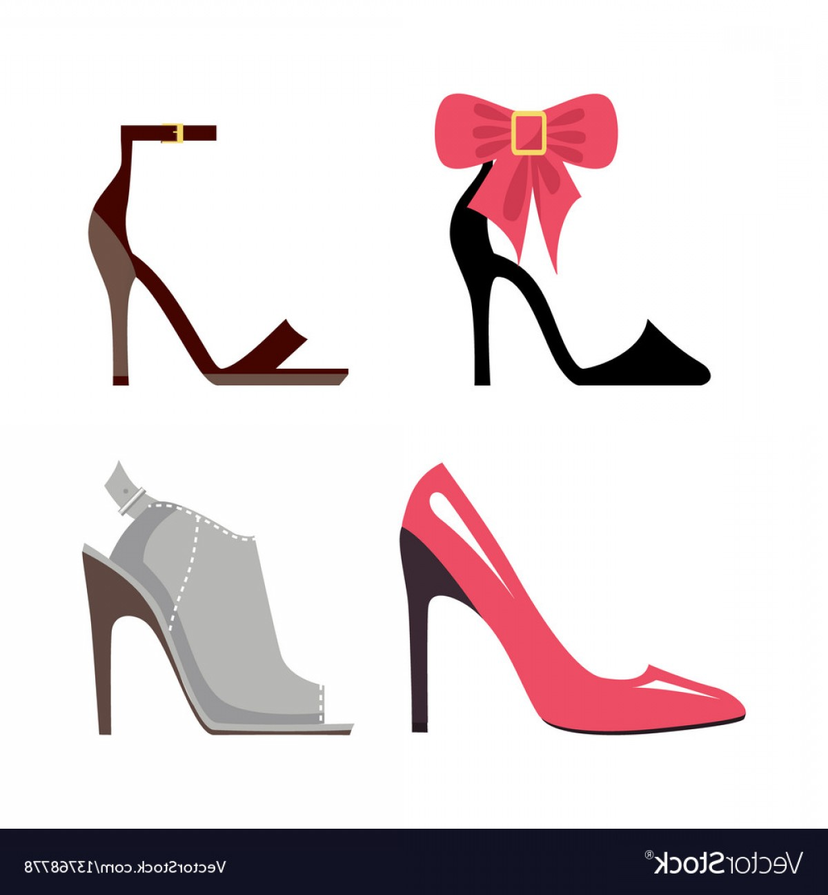 Silhouette Hee High Vector Lsitleetios: Women High Heeled Shoes Isolated Set Vector